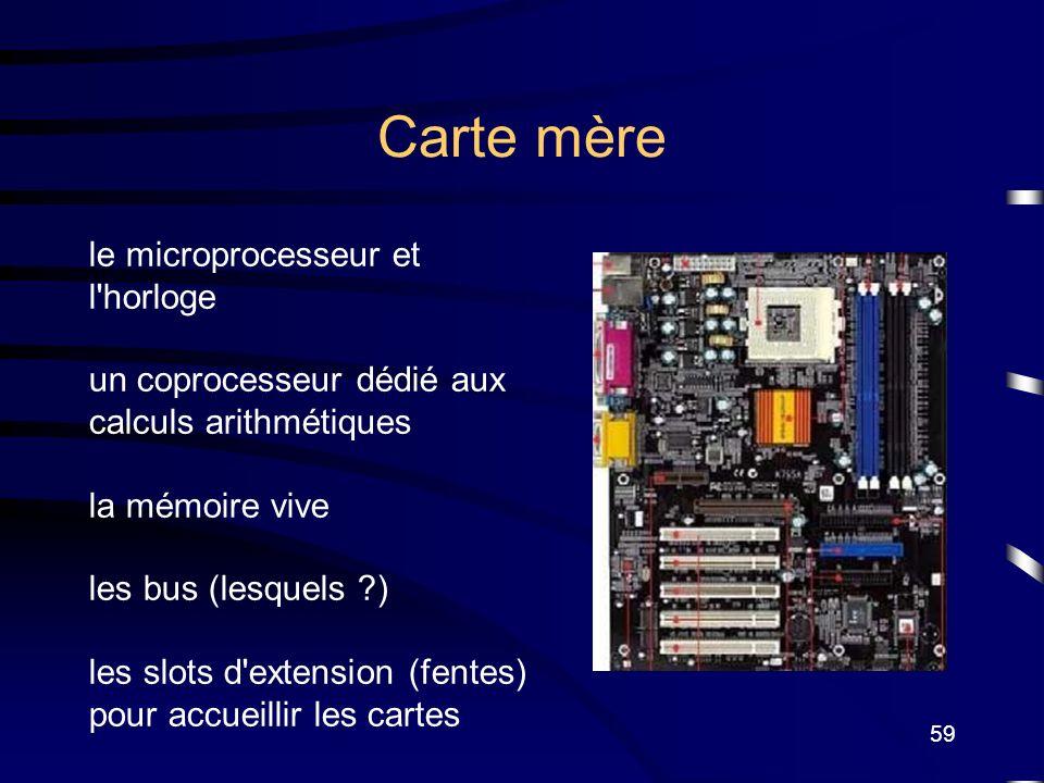 Carte mère le microprocesseur et l horloge