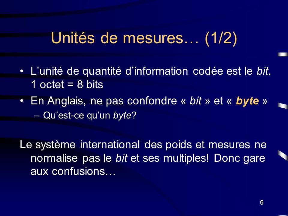 Unités de mesures… (1/2) L'unité de quantité d'information codée est le bit. 1 octet = 8 bits. En Anglais, ne pas confondre « bit » et « byte »