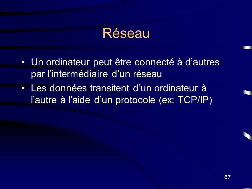Réseau Un ordinateur peut être connecté à d'autres par l'intermédiaire d'un réseau.