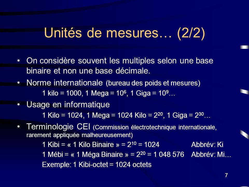 Unités de mesures… (2/2) On considère souvent les multiples selon une base binaire et non une base décimale.