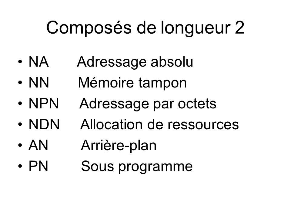 Composés de longueur 2 NA Adressage absolu NN Mémoire tampon