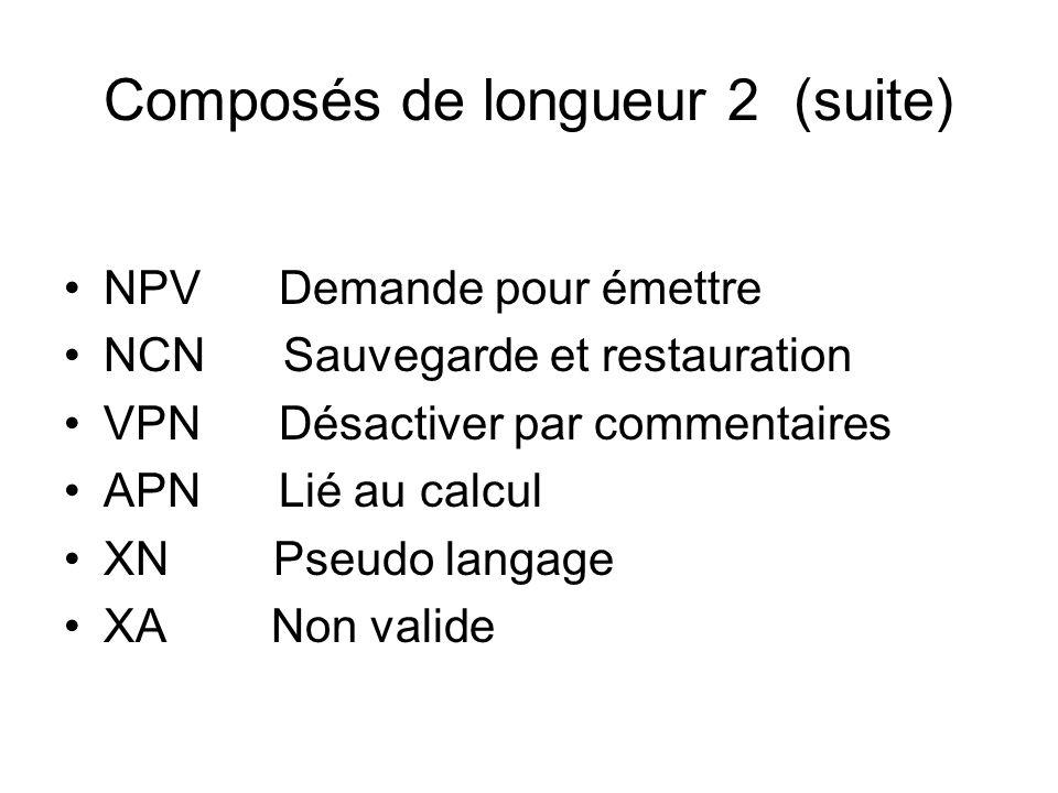 Composés de longueur 2 (suite)