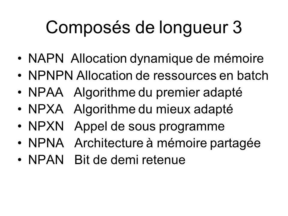 Composés de longueur 3 NAPN Allocation dynamique de mémoire
