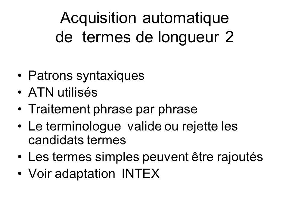 Acquisition automatique de termes de longueur 2