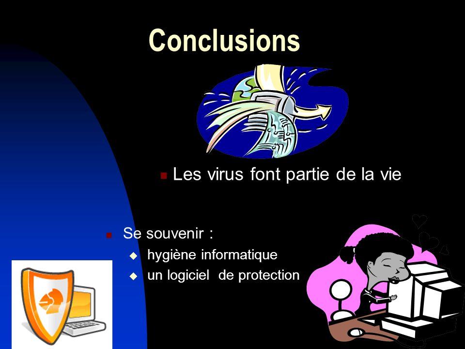 Conclusions Les virus font partie de la vie Se souvenir :