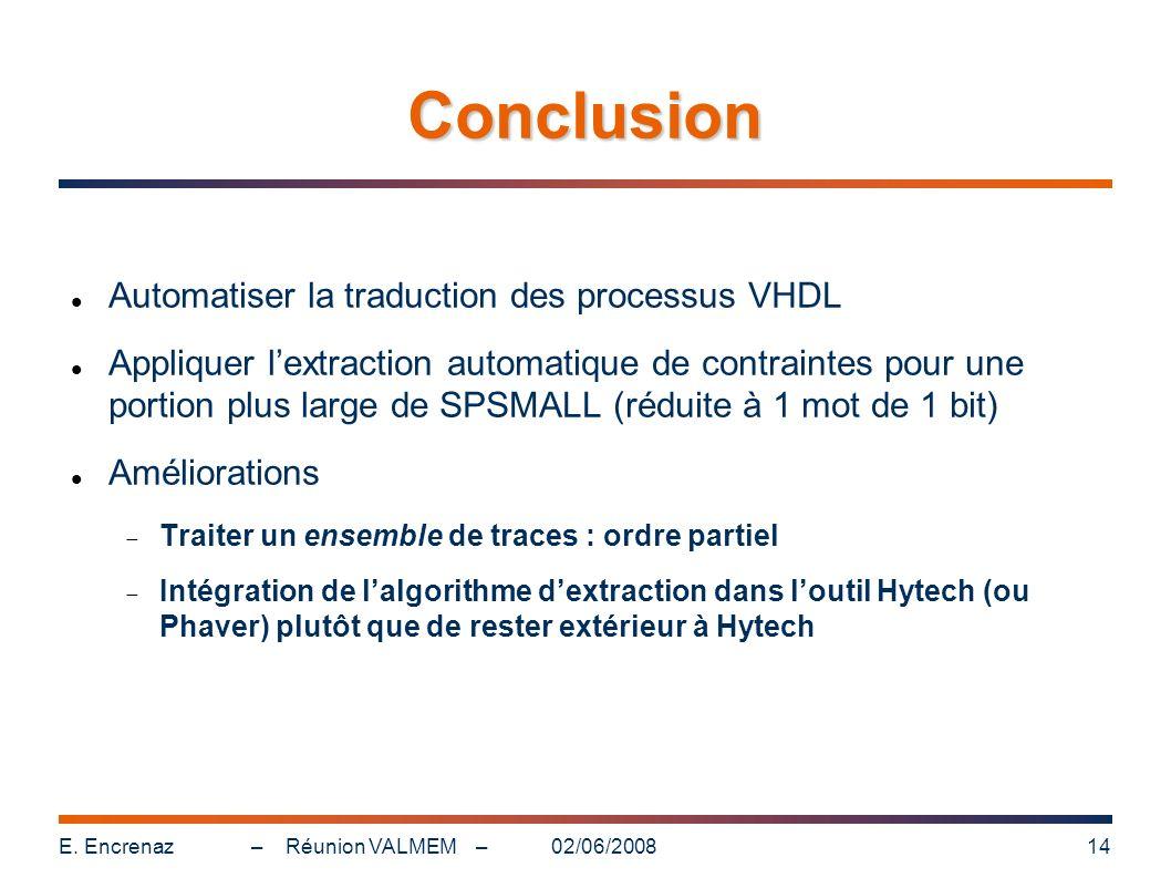 Conclusion Automatiser la traduction des processus VHDL
