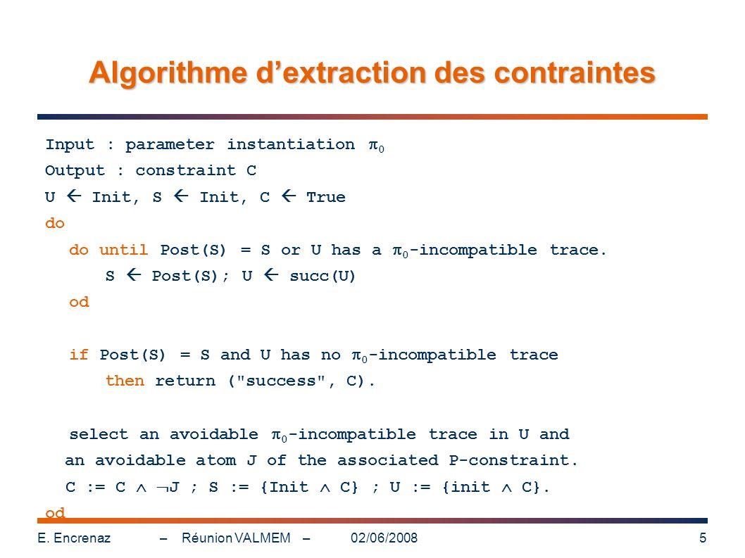 Algorithme d'extraction des contraintes