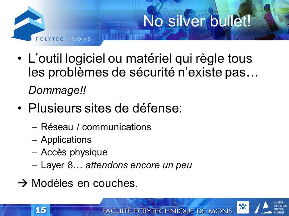 No silver bullet! L'outil logiciel ou matériel qui règle tous les problèmes de sécurité n'existe pas…