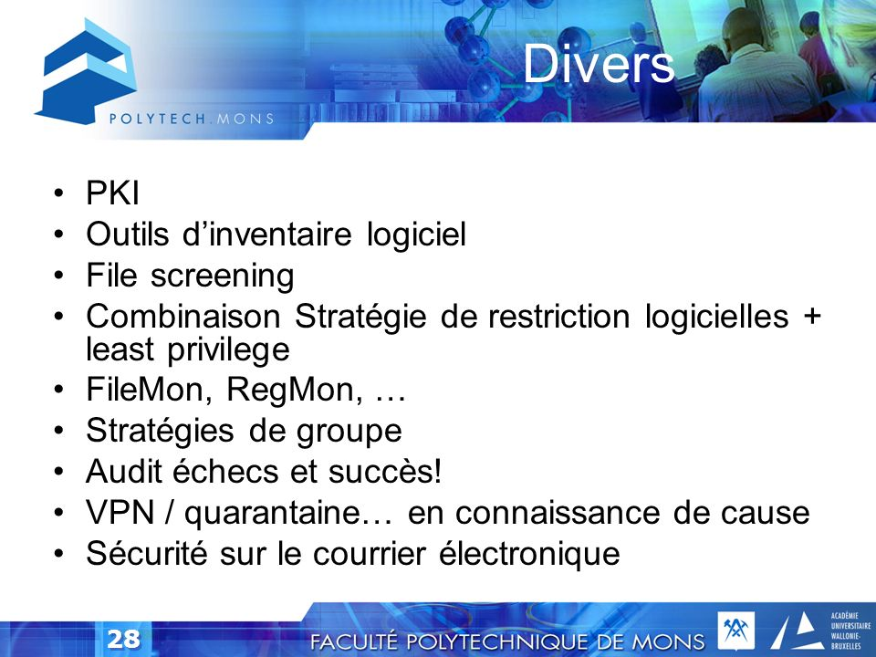 Divers PKI Outils d'inventaire logiciel File screening