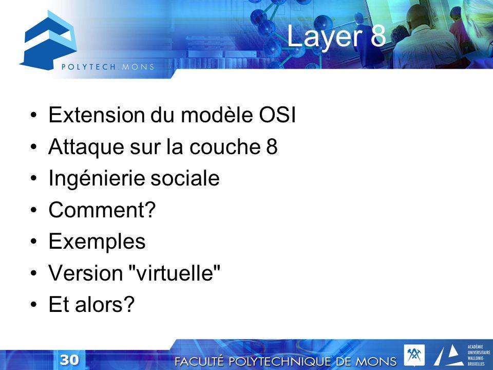 Layer 8 Extension du modèle OSI Attaque sur la couche 8