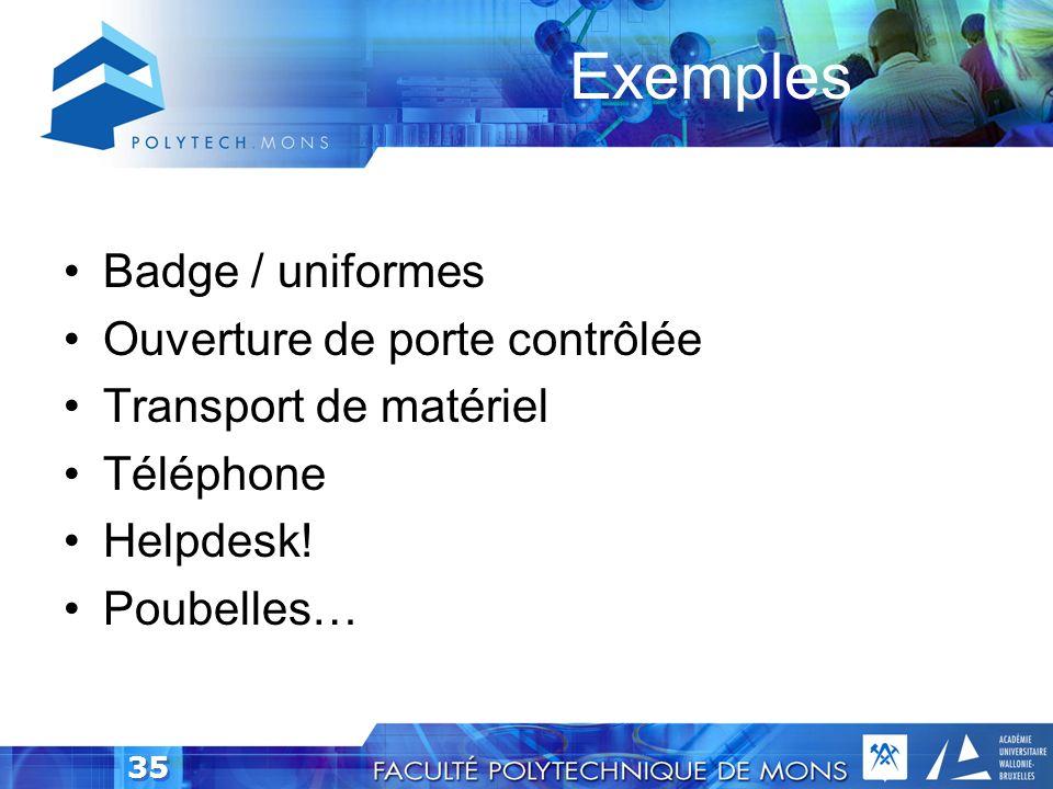 Exemples Badge / uniformes Ouverture de porte contrôlée