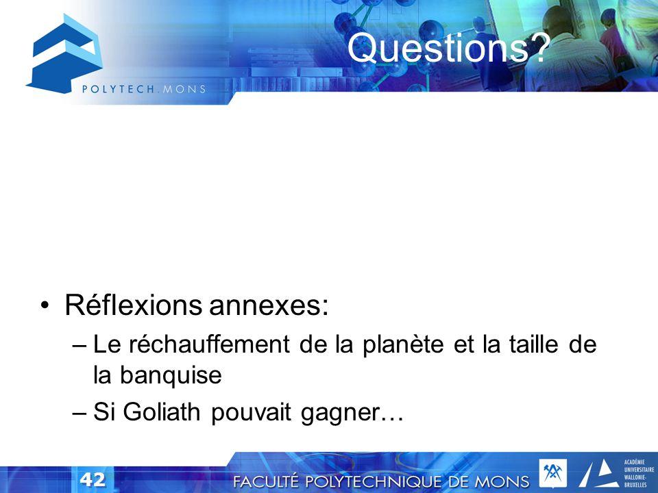 Questions Réflexions annexes: