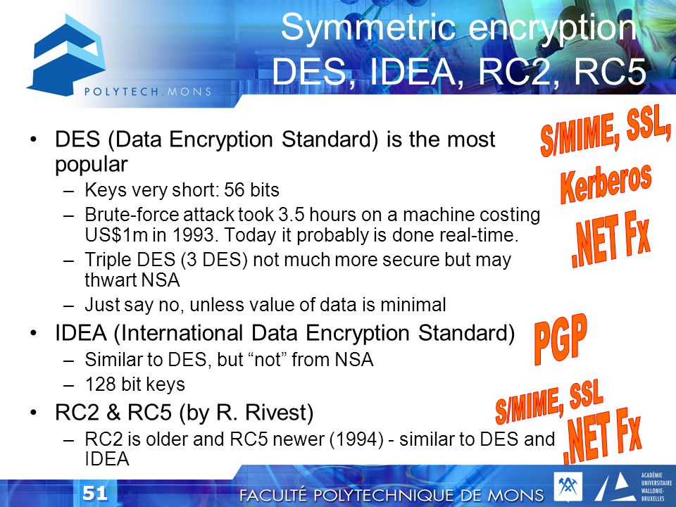 Symmetric encryption DES, IDEA, RC2, RC5