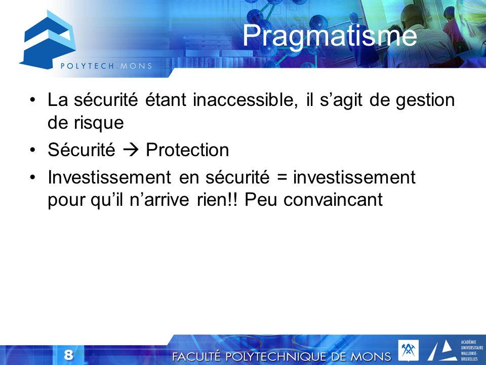 Pragmatisme La sécurité étant inaccessible, il s'agit de gestion de risque. Sécurité  Protection.