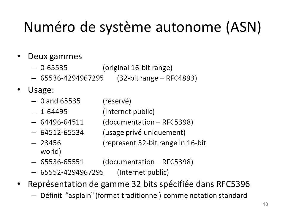 Numéro de système autonome (ASN)