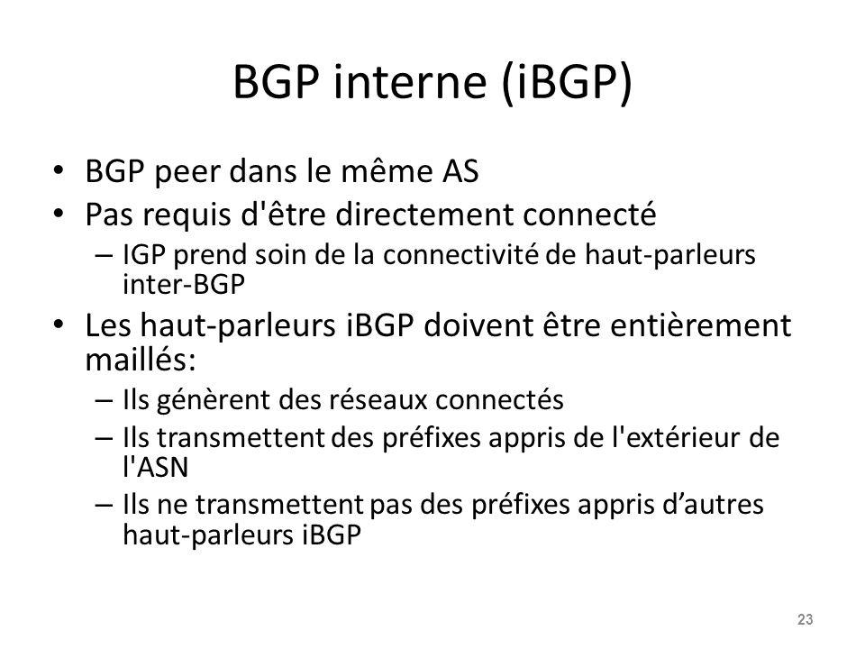 BGP interne (iBGP) BGP peer dans le même AS