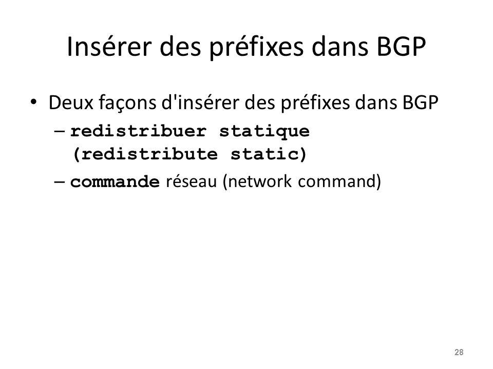Insérer des préfixes dans BGP