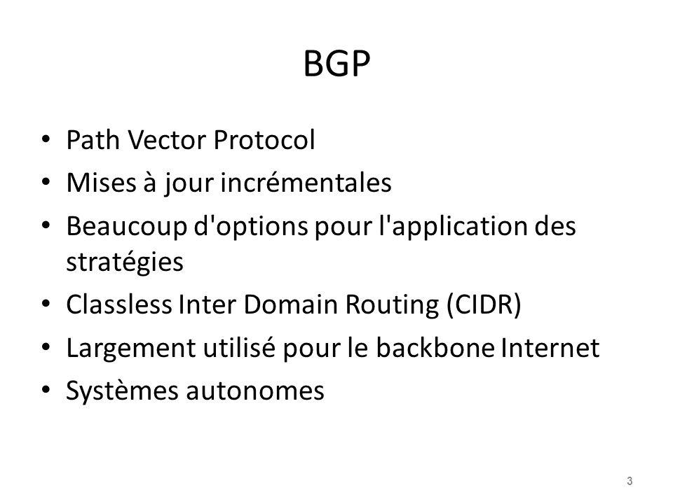 BGP Path Vector Protocol Mises à jour incrémentales