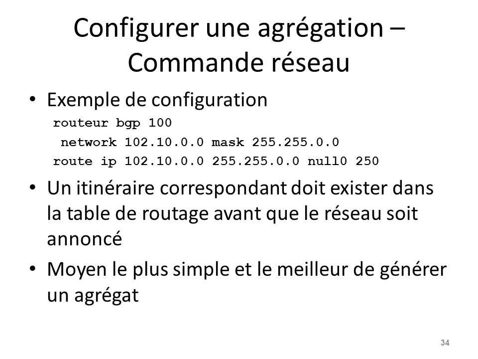 Configurer une agrégation – Commande réseau