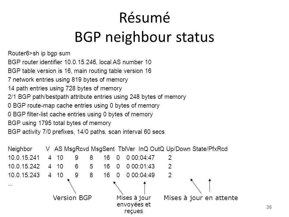 Résumé BGP neighbour status