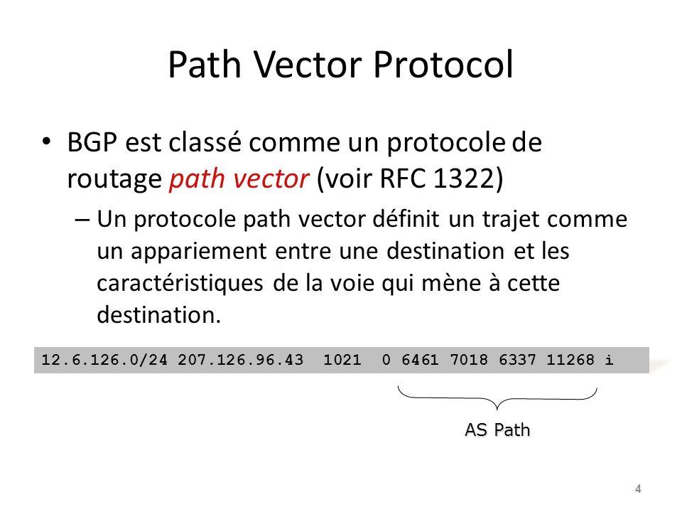 Path Vector Protocol BGP est classé comme un protocole de routage path vector (voir RFC 1322)