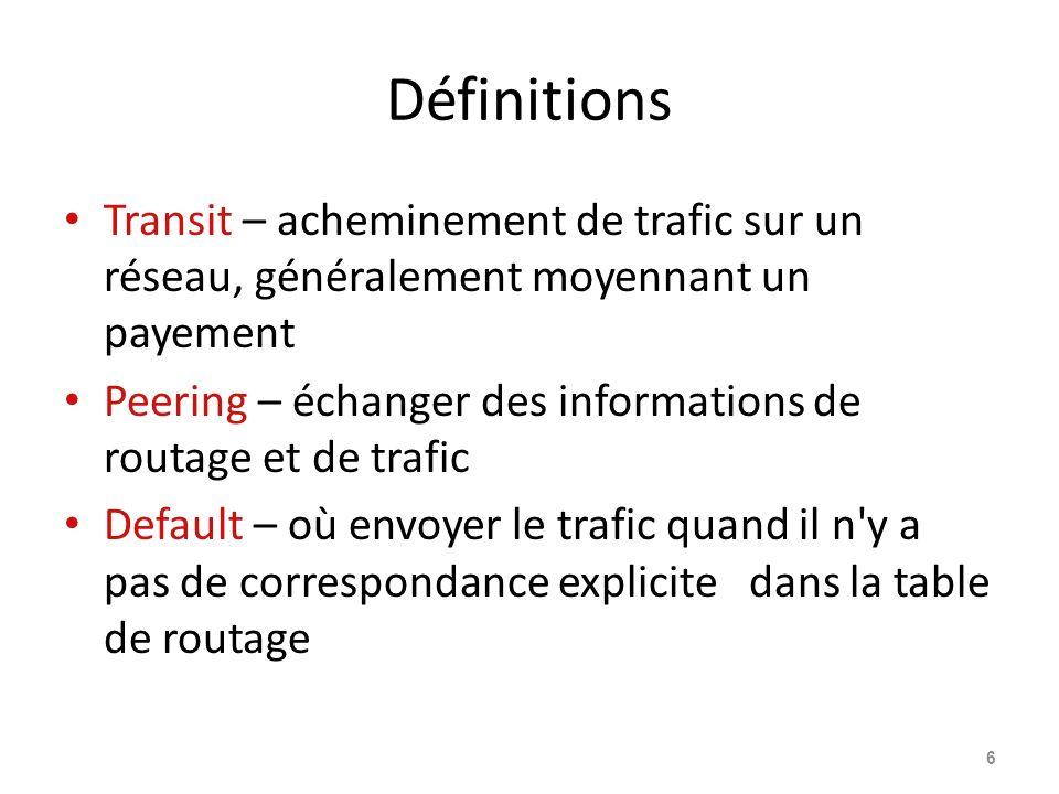 Définitions Transit – acheminement de trafic sur un réseau, généralement moyennant un payement.