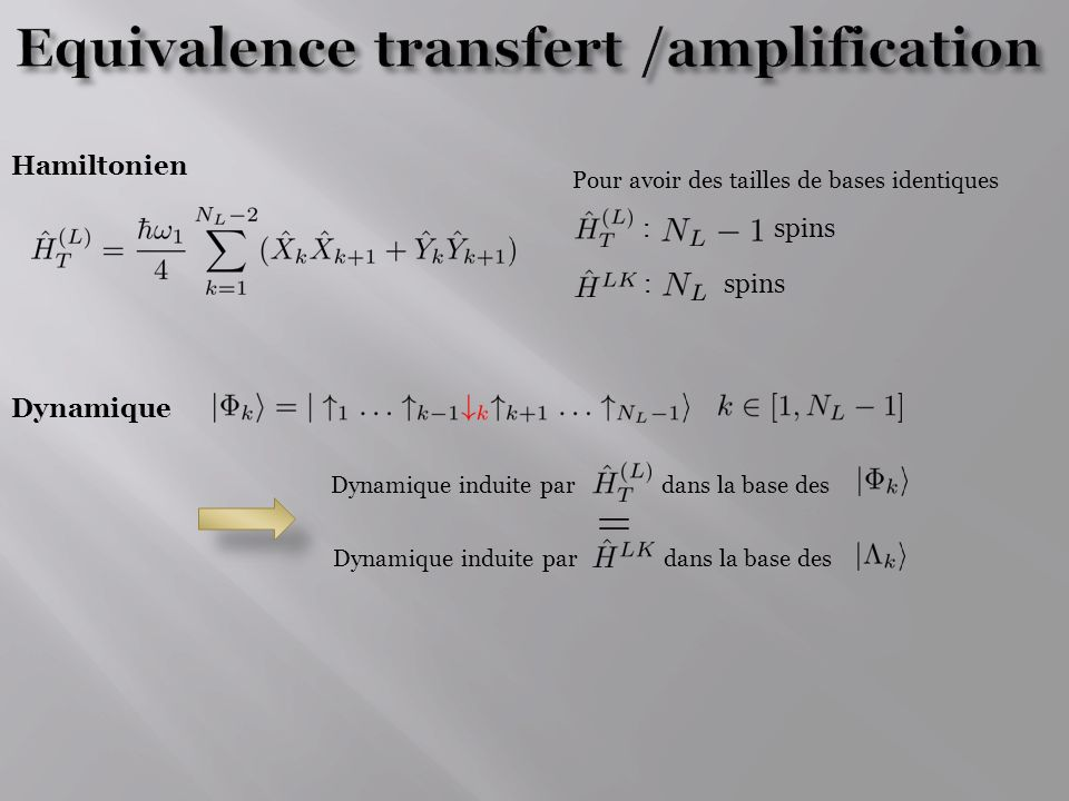 Equivalence transfert /amplification