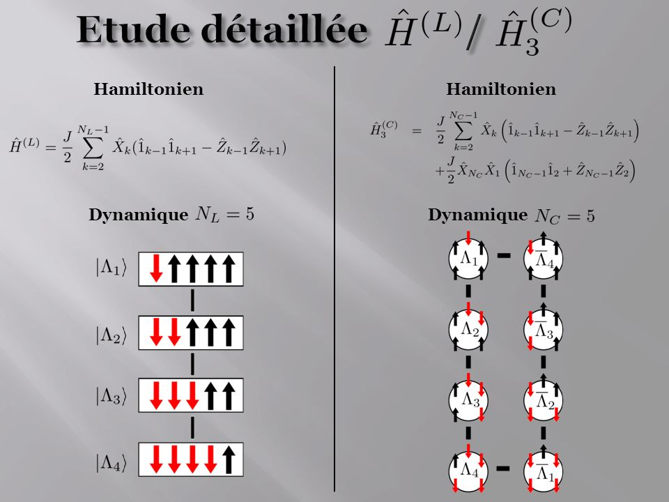 Etude détaillée / Hamiltonien Hamiltonien Dynamique Dynamique