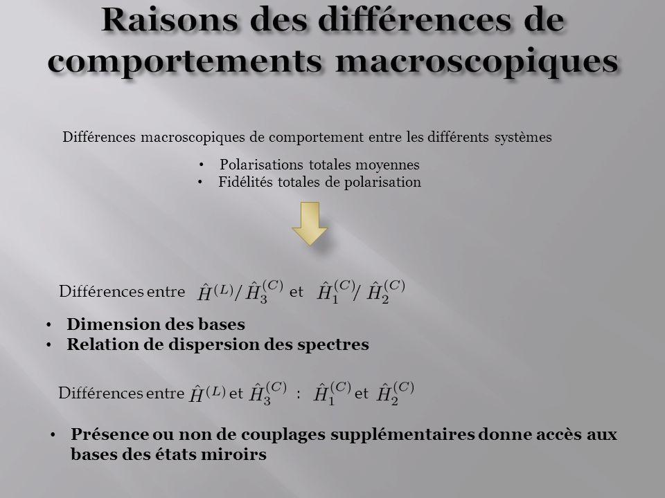 Raisons des différences de comportements macroscopiques