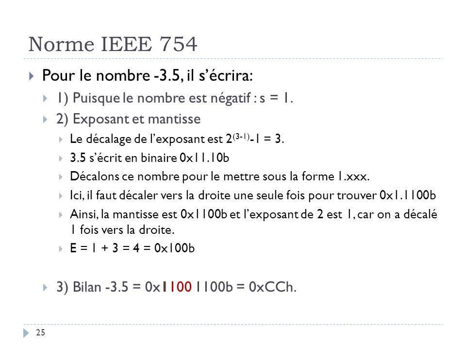 Norme IEEE 754 Pour le nombre -3.5, il s'écrira: