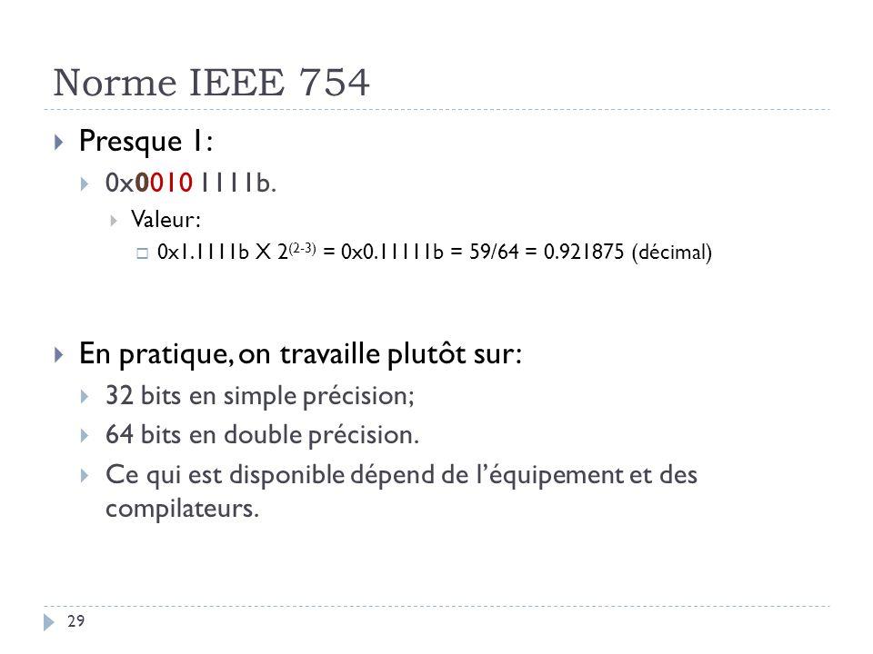Norme IEEE 754 Presque 1: En pratique, on travaille plutôt sur: