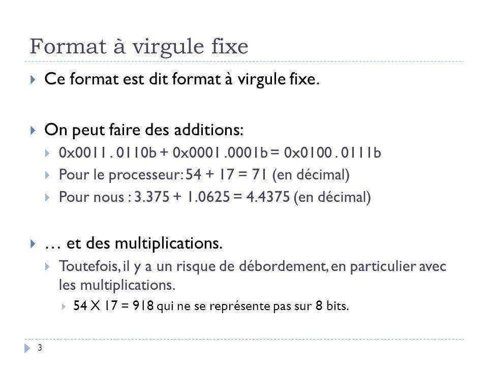Format à virgule fixe Ce format est dit format à virgule fixe.