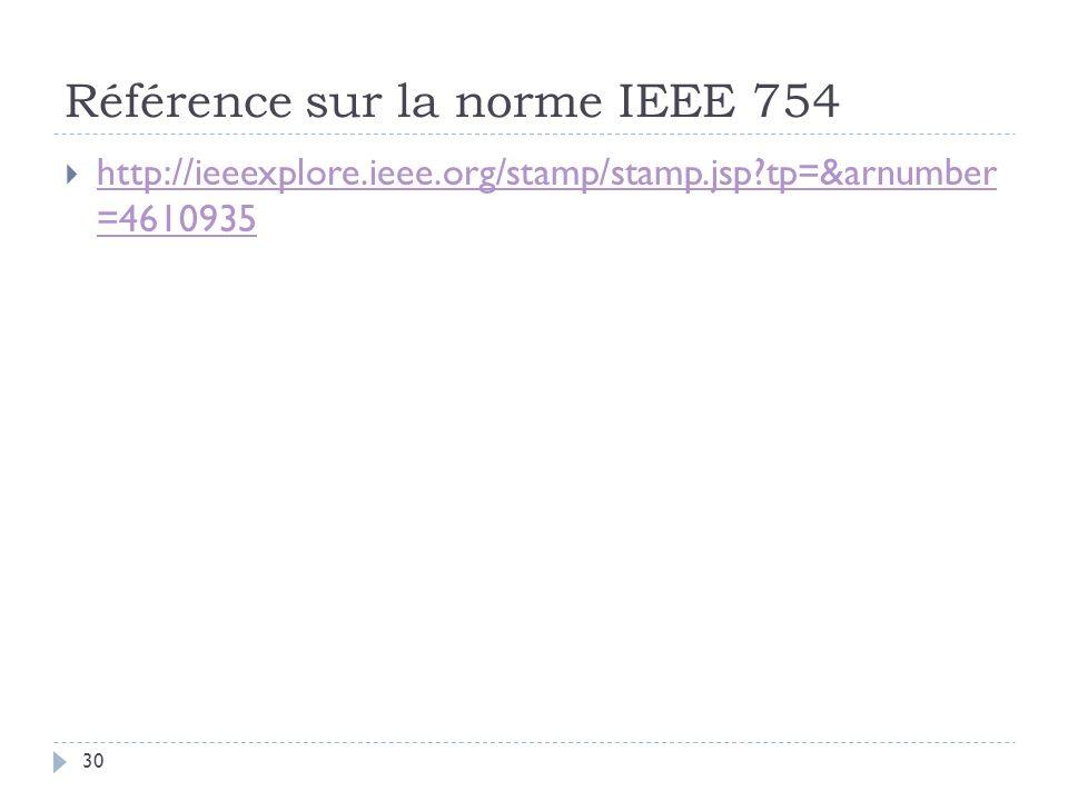 Référence sur la norme IEEE 754