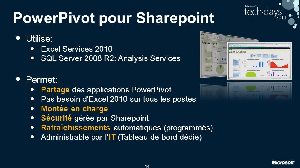 PowerPivot pour Sharepoint