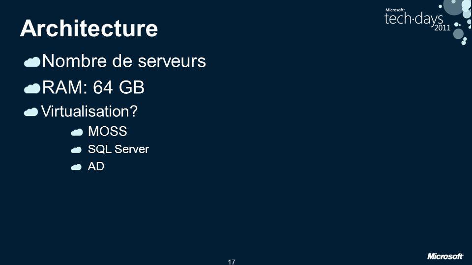 Architecture Nombre de serveurs RAM: 64 GB Virtualisation MOSS