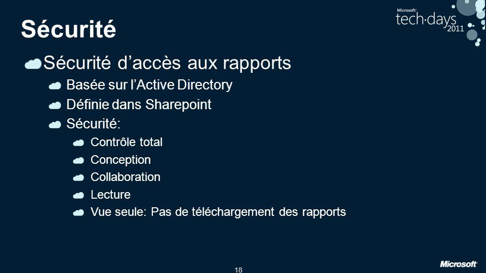 Sécurité Sécurité d'accès aux rapports Basée sur l'Active Directory