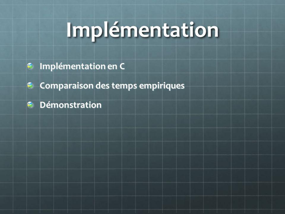 Implémentation Implémentation en C Comparaison des temps empiriques
