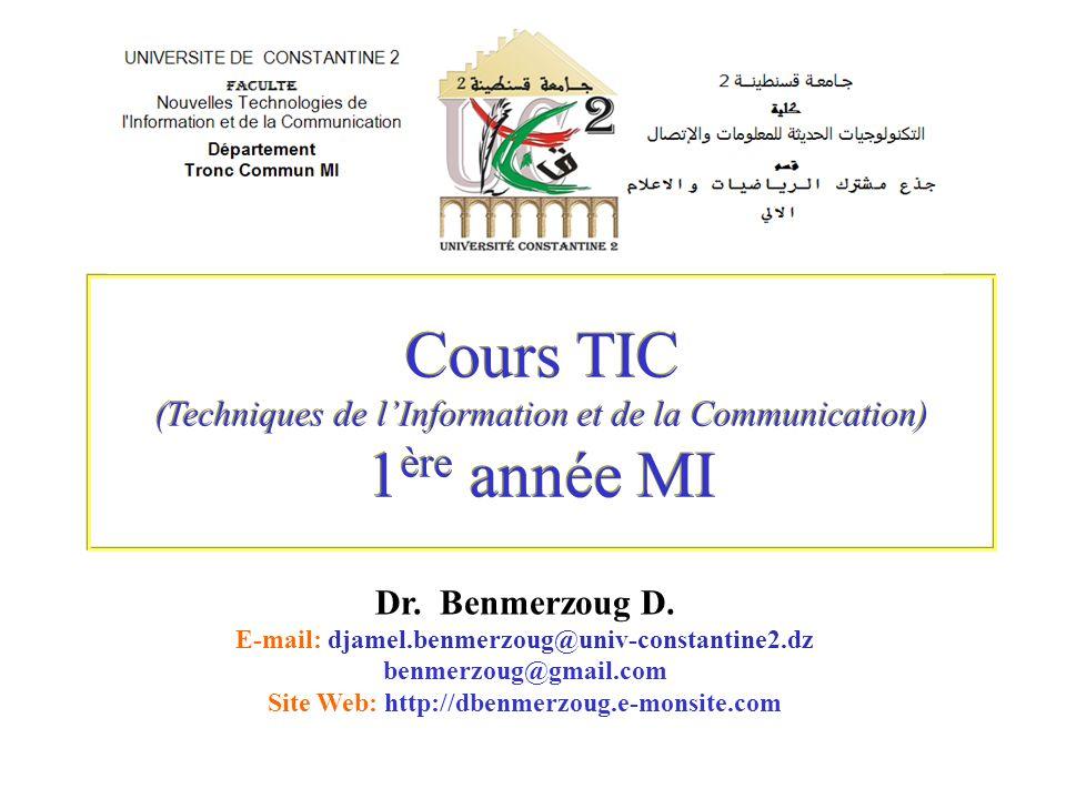 Cours TIC (Techniques de l'Information et de la Communication) 1ère année MI