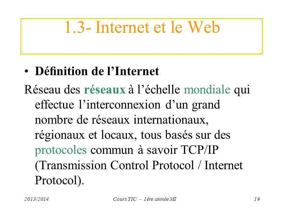 1.3- Internet et le Web Définition de l'Internet