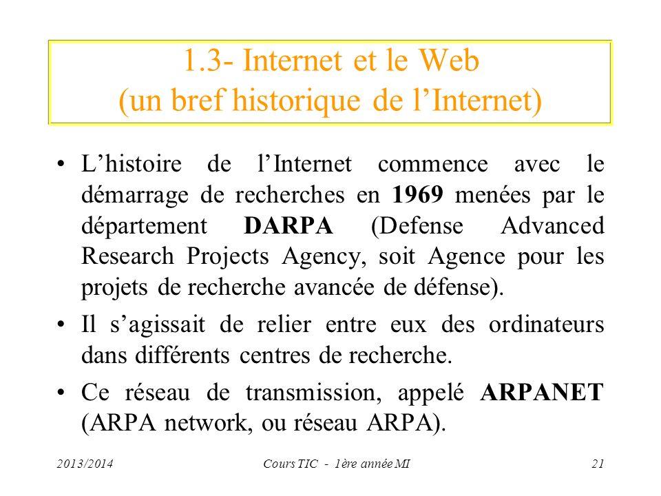 1.3- Internet et le Web (un bref historique de l'Internet)