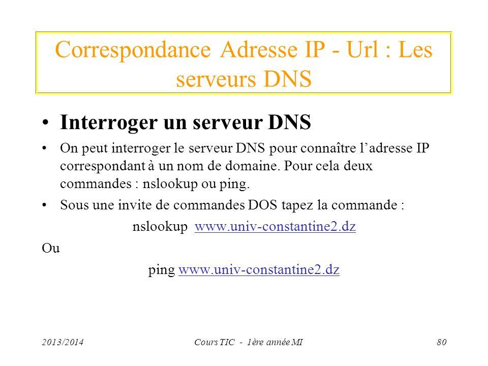 Correspondance Adresse IP - Url : Les serveurs DNS