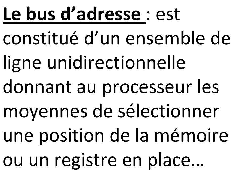 Le bus d'adresse : est constitué d'un ensemble de ligne unidirectionnelle donnant au processeur les moyennes de sélectionner une position de la mémoire ou un registre en place…