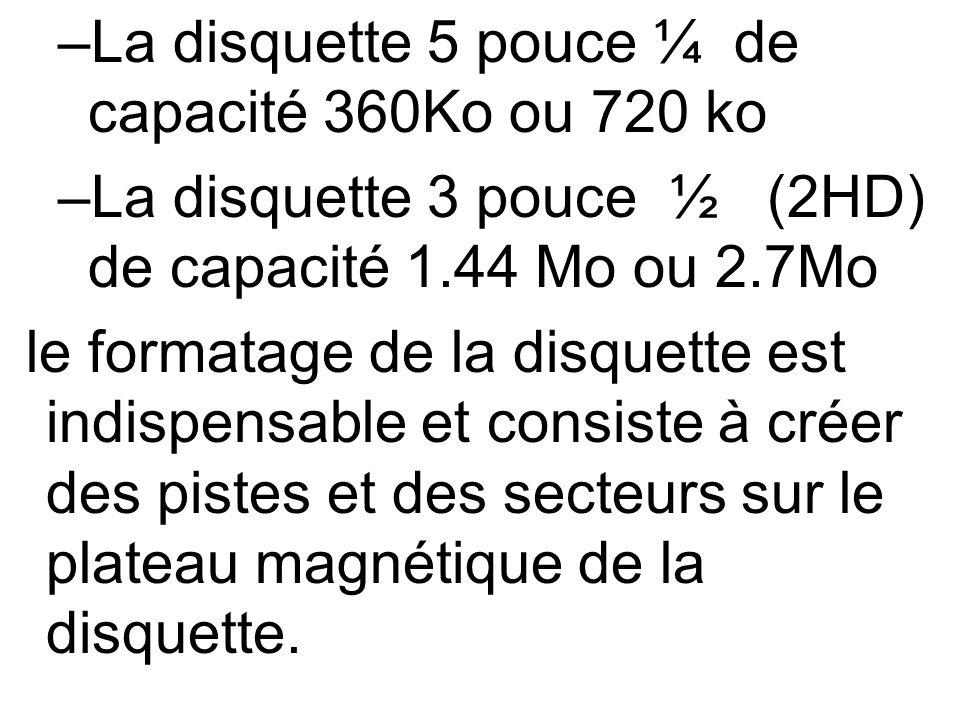 La disquette 5 pouce ¼ de capacité 360Ko ou 720 ko