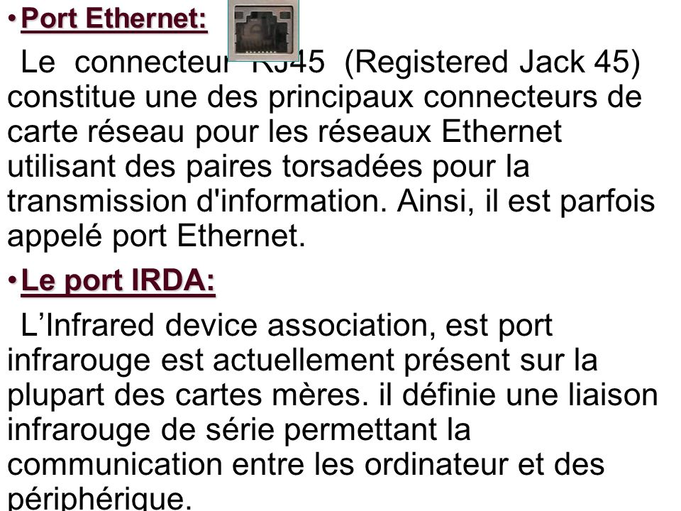Port Ethernet: