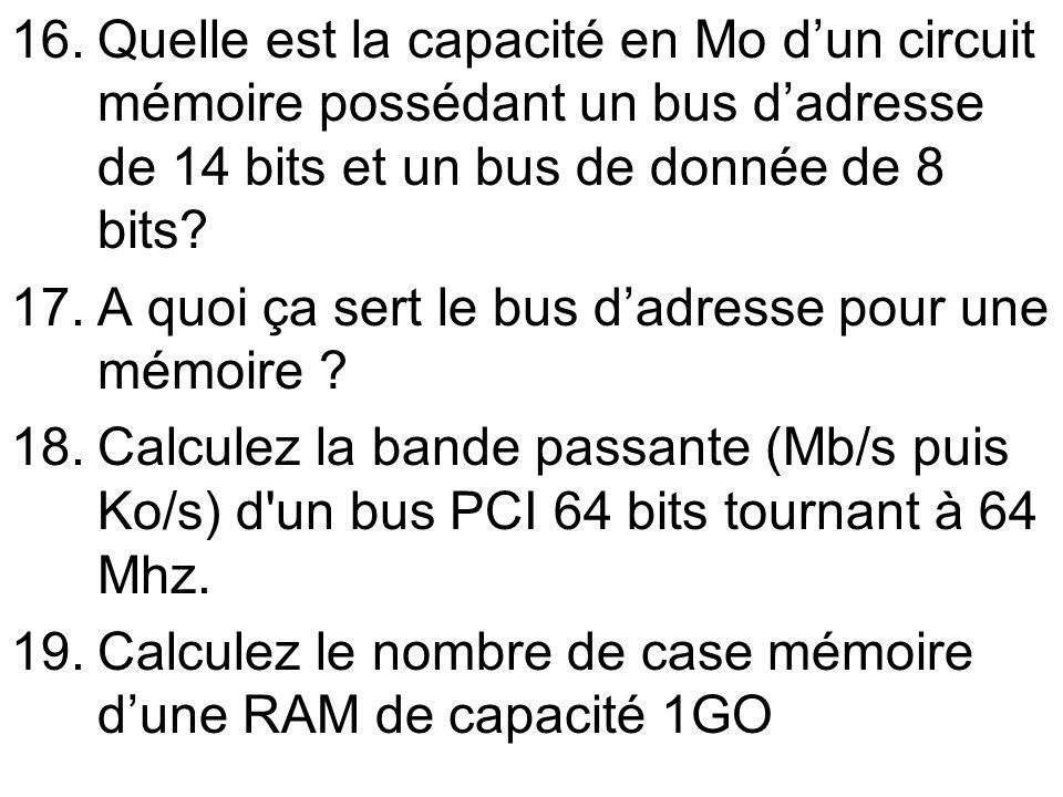 Quelle est la capacité en Mo d'un circuit mémoire possédant un bus d'adresse de 14 bits et un bus de donnée de 8 bits