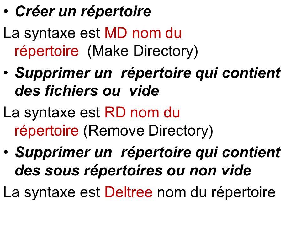 Créer un répertoire La syntaxe est MD nom du répertoire (Make Directory) Supprimer un répertoire qui contient des fichiers ou vide.