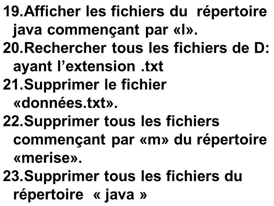 Afficher les fichiers du répertoire java commençant par «l».