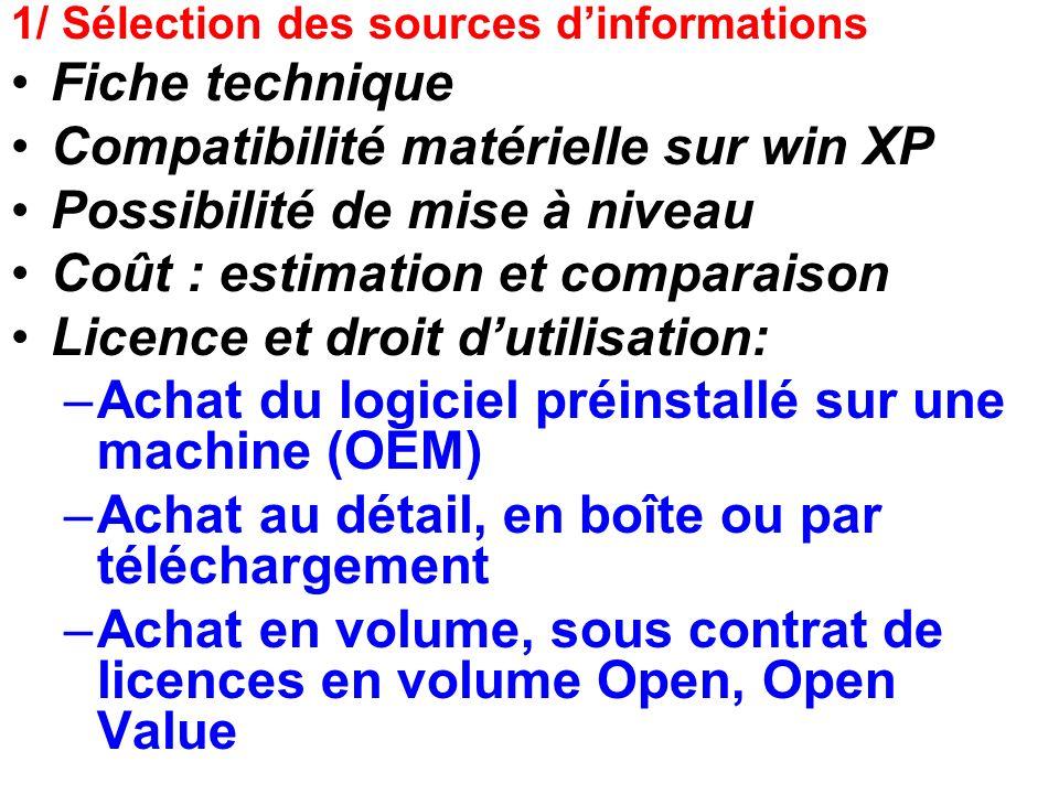 Compatibilité matérielle sur win XP Possibilité de mise à niveau