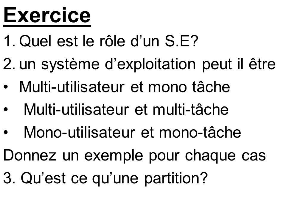 Exercice Quel est le rôle d'un S.E