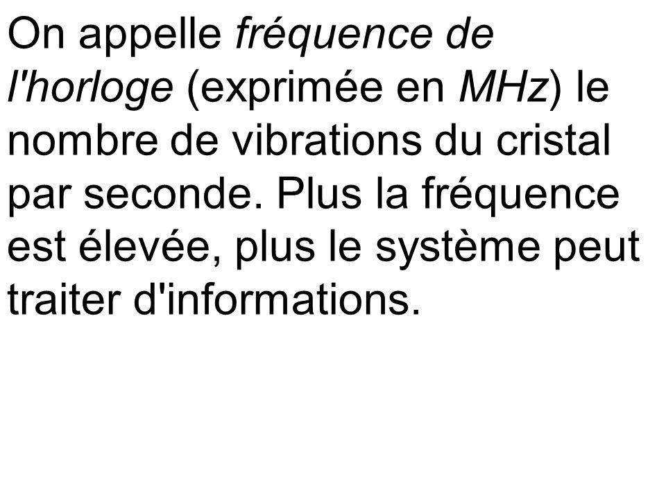 On appelle fréquence de l horloge (exprimée en MHz) le nombre de vibrations du cristal par seconde.